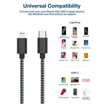 Apple usb c cable fast charging braided cable cord for iphone 11/11pro