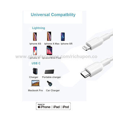 PD fast charging usb adapter USB C to lightning cable