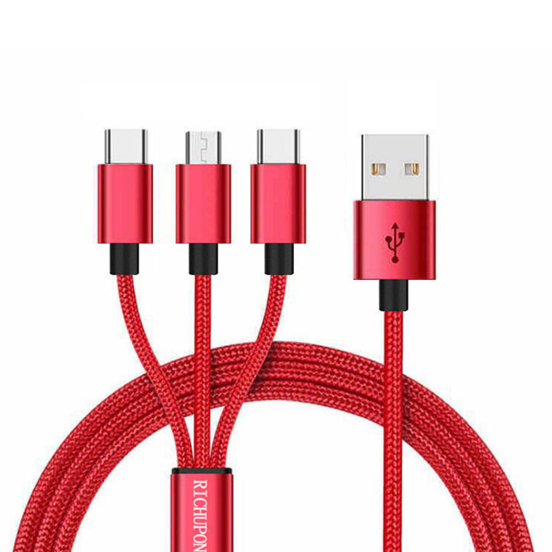 Type C 3 in 1 usb data cable nylon braided multi charging cable suppliers