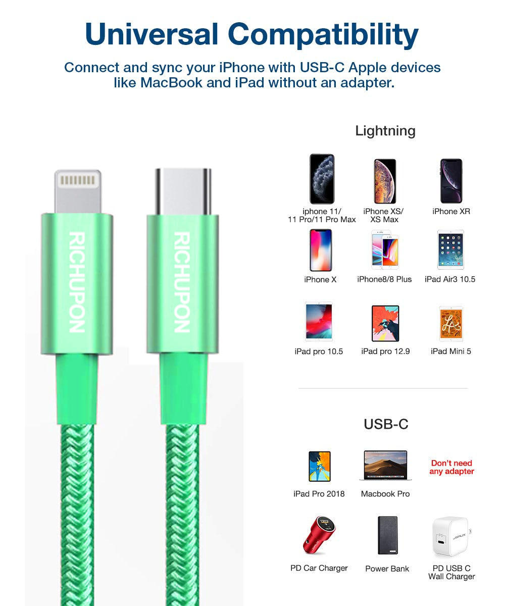 Usb to iphone 12/11 lightning cable PD fast charging cord
