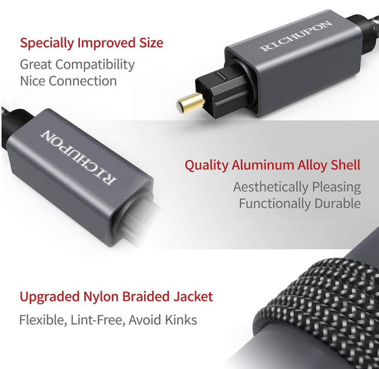 Wholesale Digital Optical Audio Cable Cord Slim Braided for Sound Bar