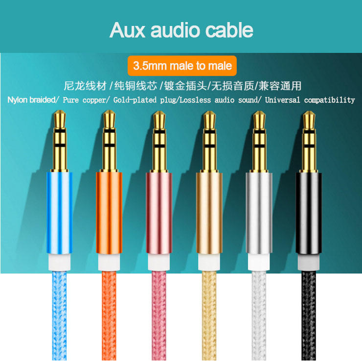 3.5mm Audio Cable Nylon Braided Aux Digital Optical Cable
