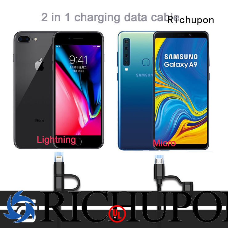 Richupon quick charge usb cable 2 in 1 directly sale for charging