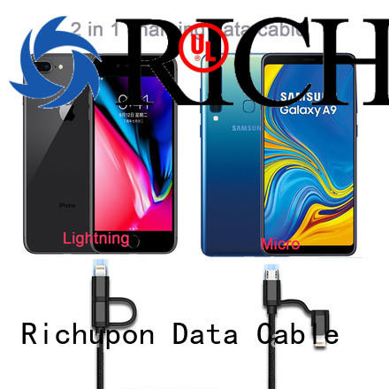 Richupon 2 in 1 usb cable overseas market for charging